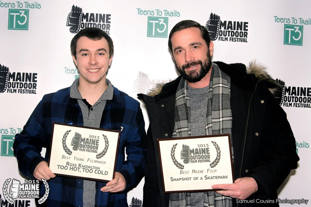 At the 2015 MOFF Awards Show, Ross Knowlton (left) won the award forBest Young Filmmaker with his film TOO HOT, TOO COLD. Tim Ouillette won Best Maine Film with his film SNAPSHOT OF A SKATEPARK. Photo by Sam Cousins.